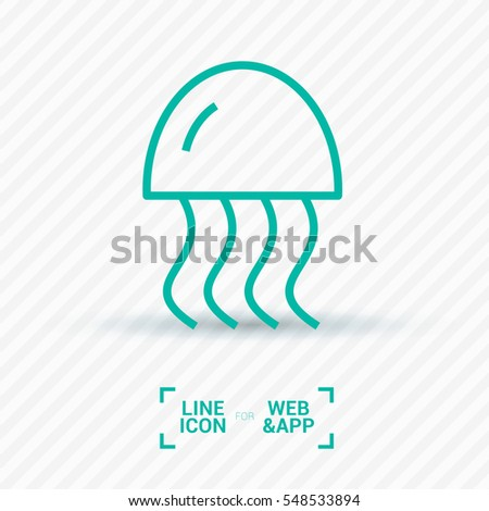 jellyfish linear vector icon