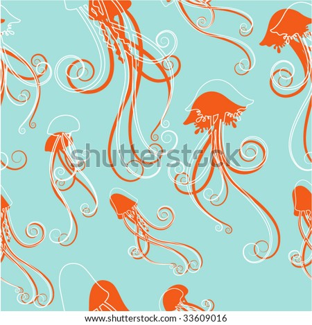 jellyfish pattern vector - stock vector