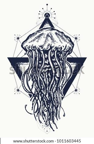 jellyfish tattoo geometric