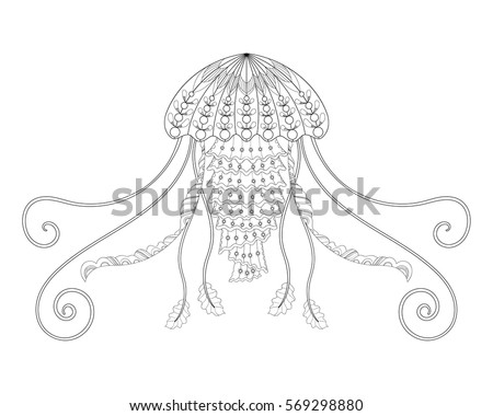 Jellyfish Vector Illustration Hand Drawn Meduza Sea Animal For Adult Anti Stress Coloring Book