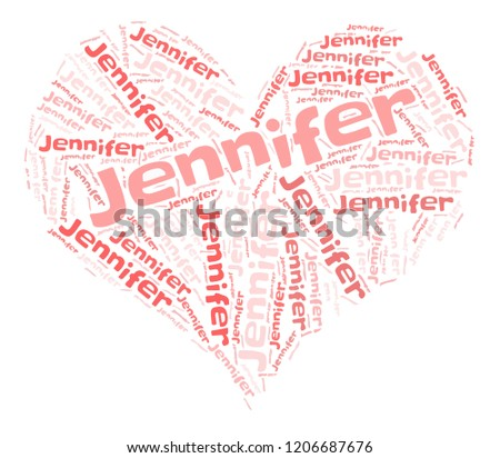 jennifer word cloud in heart