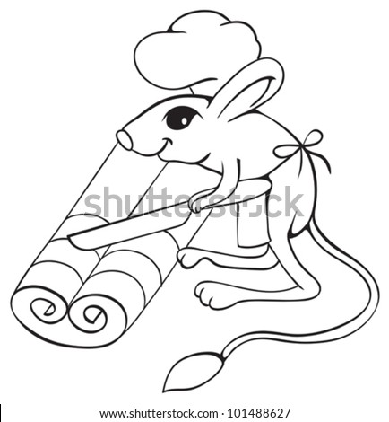 Jerboa chef cuts dough on slices. Outline illustration.