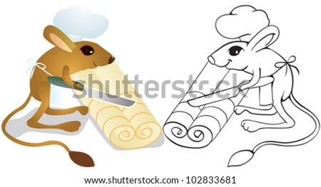 Jerboa chef cuts dough on slices. Outline illustration. - stock vector