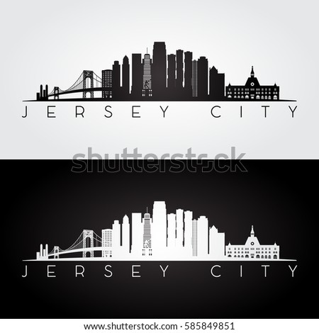 Jersey City USA skyline and landmarks silhouette, black and white design, vector illustration.
