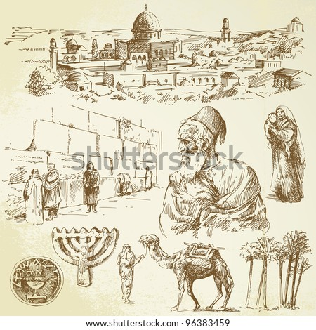 jerusalem   hand drawn set