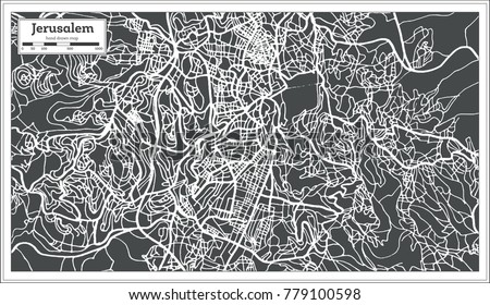 Jerusalem Israel City Map in Retro Style. Vector Illustration. Outline Map.