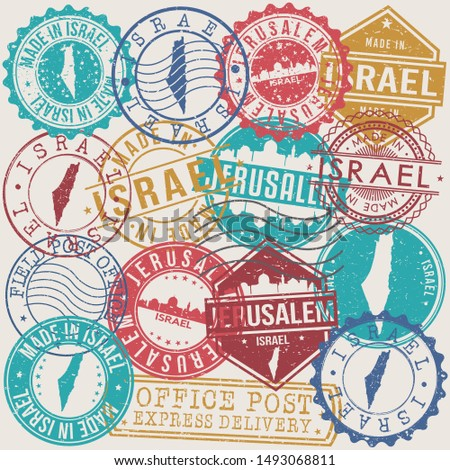 Jerusalem Israel Set of Stamps. Travel Stamp. Made In Product. Design Seals Old Style Insignia.