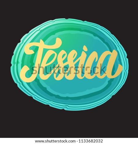 jessica card golden lettering