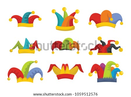 7e099845c0448 Jester fools hat icons set. Flat illustration of 9 Jester fools hat vector  icons for