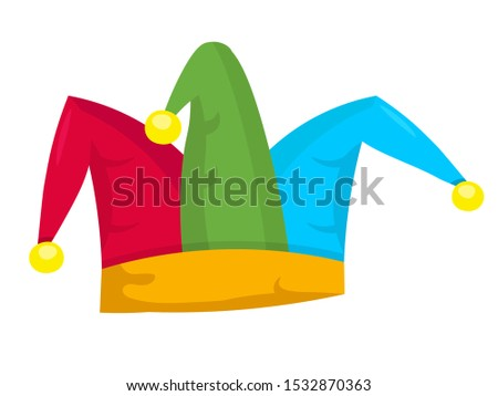 Jester hat flat vector illustration. Clown colorful headgear isolated clipart on white background. Masquerade outfit design element. Carnival napper, halloween party harlequin costume