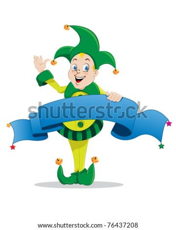 Jester joker holding a blue banner on a white background