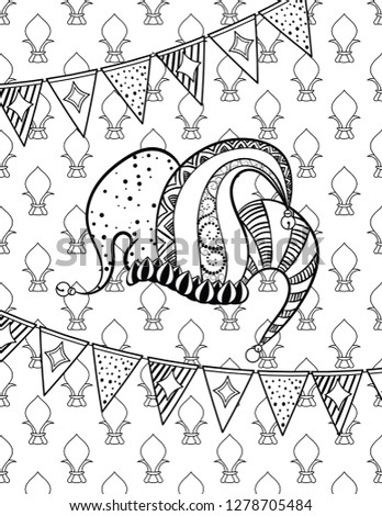 98aa54f7f7d Jester s hat. Mardi Gras coloring page for adult coloring book. Vector  illustration.