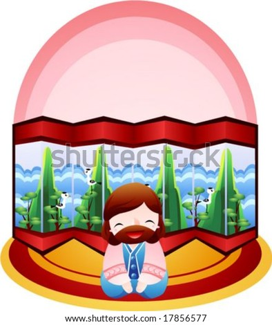 Jesus Christ and Christian - bow with the Lord on a background with pink half round frame and a beautiful eight fold folding screen : vector illustration