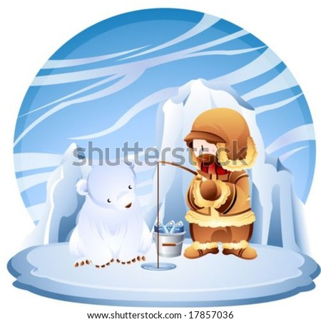Jesus Christ and Christian - the Lord enjoy ice fishing with a cute young polar bear in the fishing ground on a background with beautiful blue sky and cold icy land : vector illustration