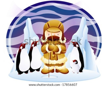 Jesus Christ and Christian - the Lord enjoy ice fishing with cute penguins in the fishing ground on a background with beautiful colorful sky and cold icy land : vector illustration