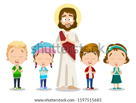 Jesus Christ and little children praying together. Cute girls and boys of ?hristian faith. Faithful children with hands folded in prayer. Spirituality and religion education vector illustration