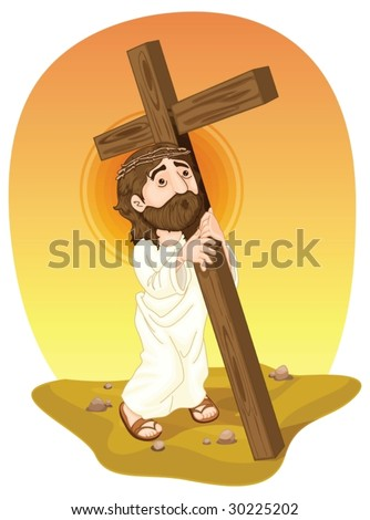 jesus christ carrying a cross - stock vector
