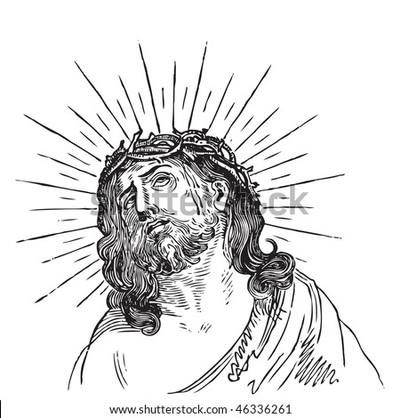 Jesus Christ engraving, crowned with  thorns; scalable and editable vector illustration; hi-res jpg included