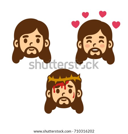 jesus christ face set in cute