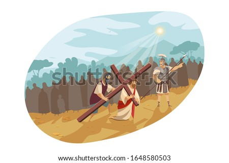 Jesus Christ on way of cross, Bible concept. Son of god in crown of thorns is carrying cross to Golgotha. Simon of Cyrene helps Messiah to bear cross. Illustration of passion in cartoon style.