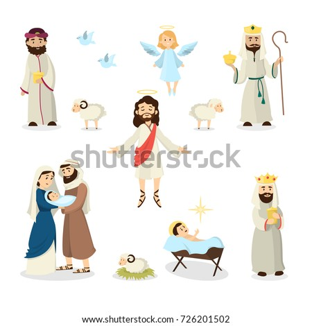 Stock Photo Jesus Christ story illustration with Mary, Joseph and sheep.