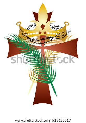 Jesus Christ the King of Universe- religious illustration with a cross, crown, and palm branches