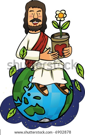 Jesus love our world - stock vector