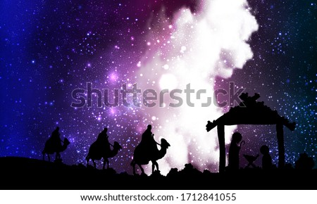 Jesus mary joseph on a nebula background, vector art illustration. Stock photo ©