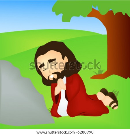 Jesus praying in Getsemani - Vector