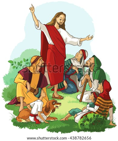 Jesus Preaches the Gospel. Easter christian illustration. Also available coloring book version