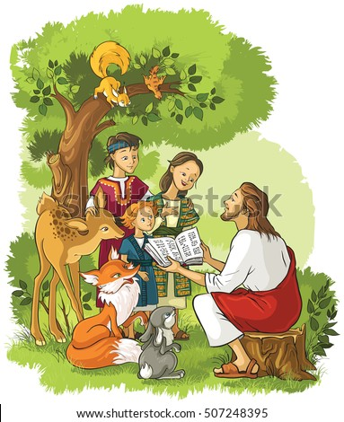 Jesus reading the Bible to children and animals. Also available outlined (coloring book) version