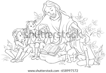 Jesus reading the Bible to Children. Coloring page.  Also available colored version