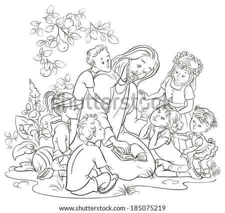 jesus reading the bible with children coloring page also available colored version - Jesus Children Coloring Pages