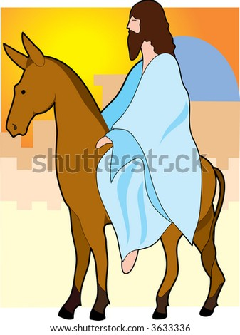 Jesus rides to Jerusalem on a donkey