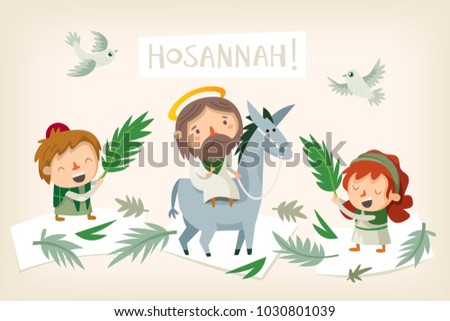 jesus riding a donkey entering