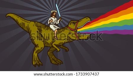 jesus riding t rex dinosaur