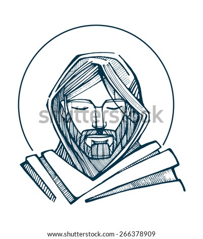 Jesus Serene Face\ Hand drawn vector illustration or drawing of Jesus Christ Face