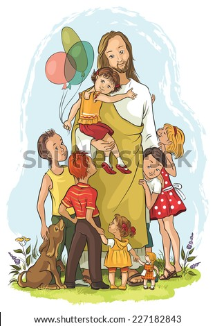 Jesus with children Also available raster and outlined version