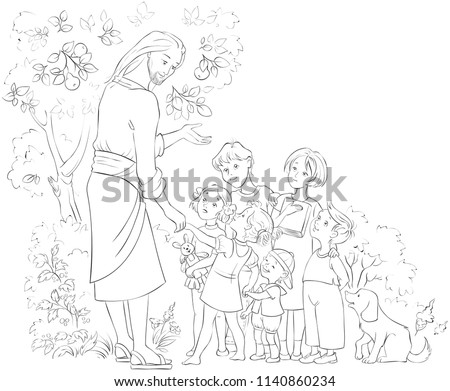 Jesus With Children coloring page. Also available colored illustration