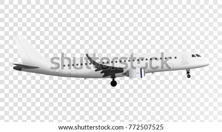 Jet airplane isolated on white bacground. Vector high detailed airplane. Jet commercial plane.