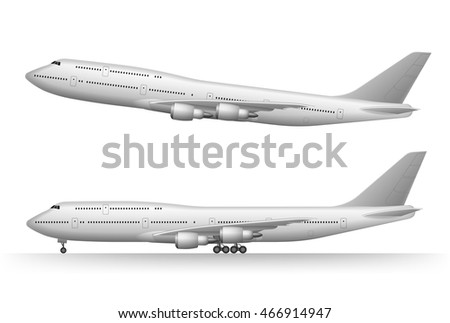 Jet airplane isolated on white. Realistic vector illustration of taking off and flying plane. Vector high detailed airplane. Jet commercial plane. Airline Concept Travel aircraft set.