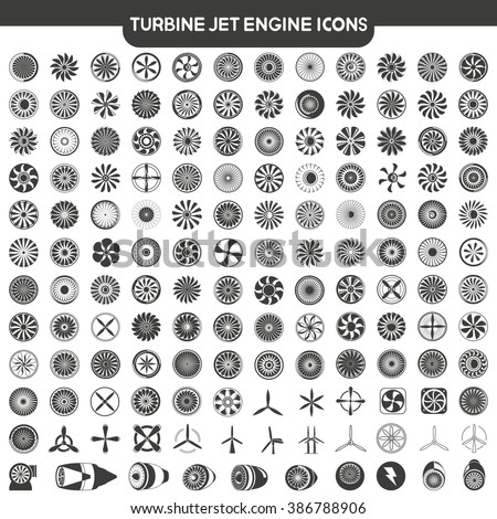 jet engine icons set, blades of turbine engine, airplane engine, engine power set
