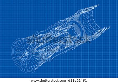 jet engine isometrics on blue