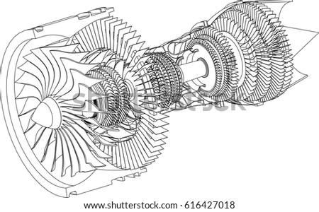 jet engine isometrics vector