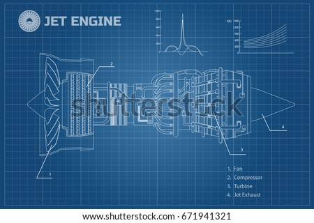 jet engine of airplane outline