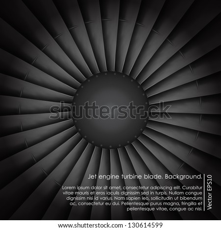 Jet engine turbine blade airplane. Background.