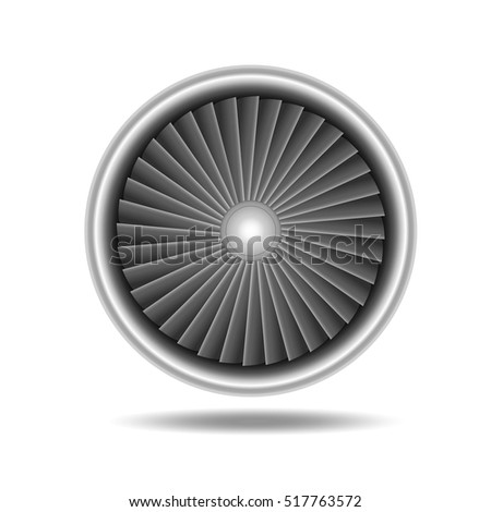Jet Engine Turbine. Detailed on Airplane Motor Front View. Vector illustration of Realistic aircraft energy front view. Turbo Fan of plane, aircraft, machinery power symbol.