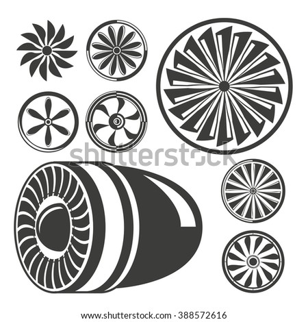 jet engine turbine icons, jet blade symbols