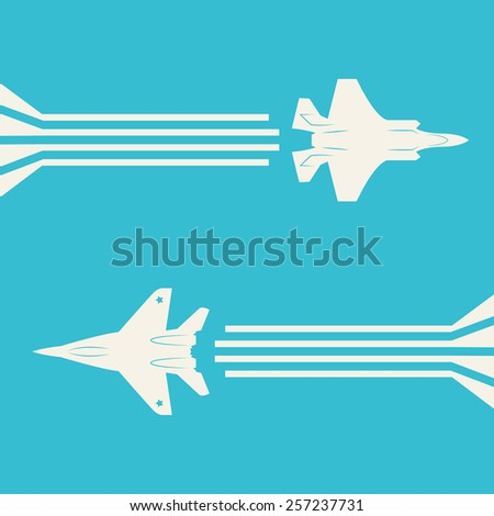 jet fighter aircrafts flying on