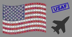 Jet fighter items are combined into USA flag mosaic with blue rectangle rubber stamp watermark of USAF text. Vector composition of American waving state flag is designed of jet fighter items.